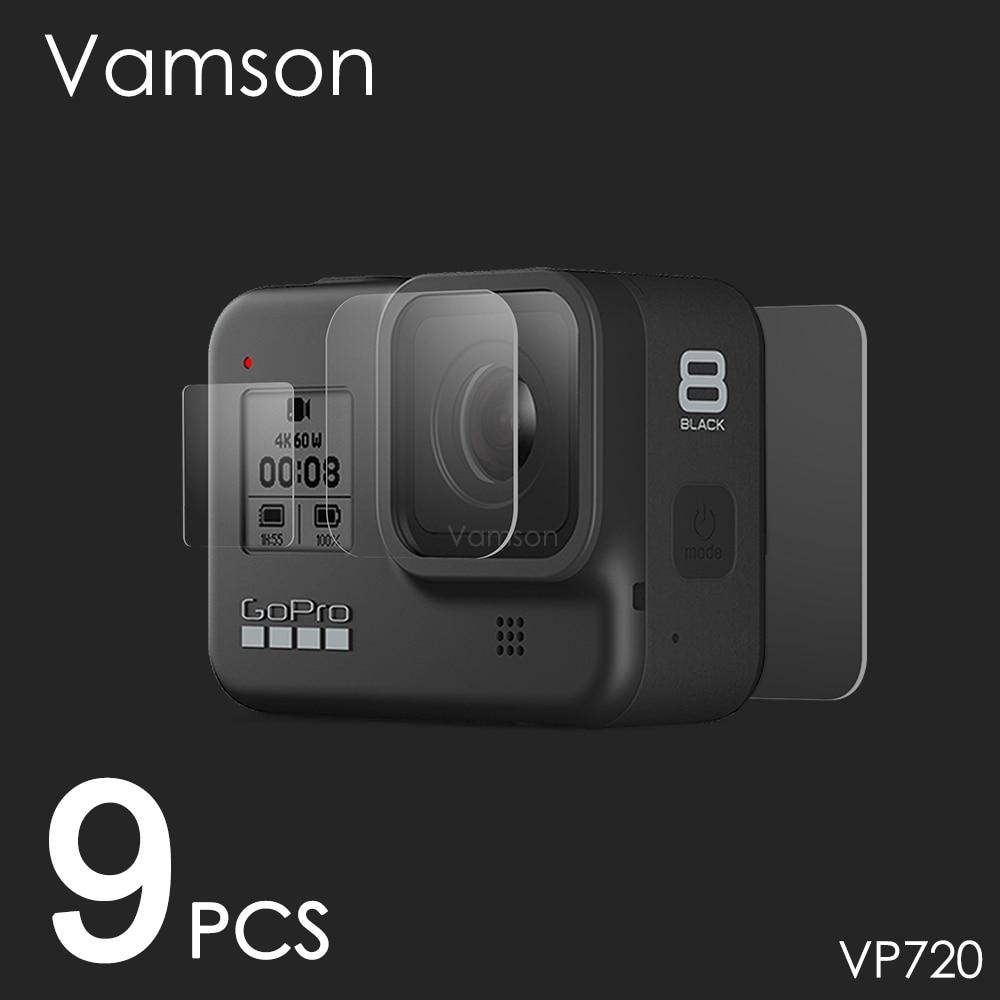 Vamson For Gopro Hero 8 Black Tempered Glass Screen Protector Action Camera Lens Screen Film 9Pcs For Go Pro 8 Camera VP720