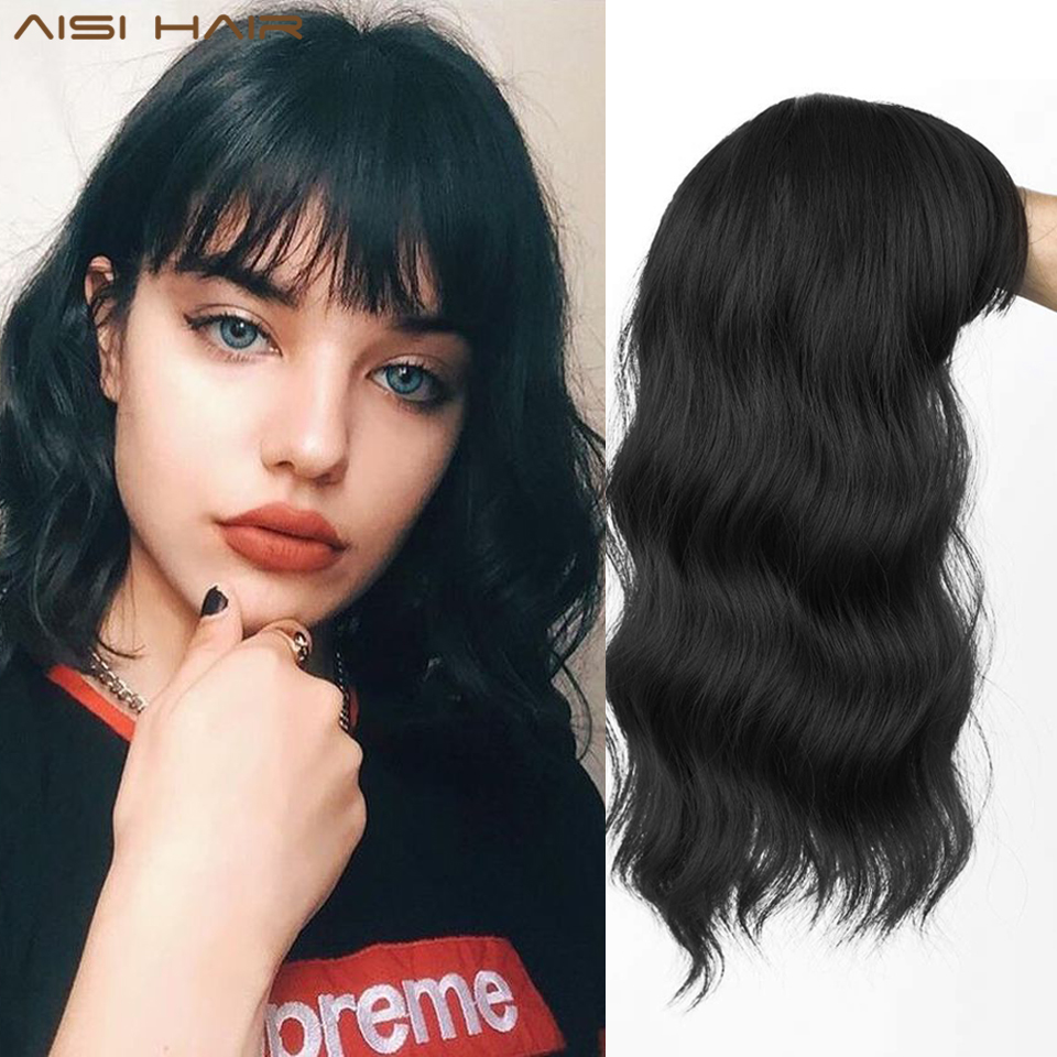 AISI HAIR Wavy Hair Toppers with Bangs Hair Extension Clip in Top Crown Hairpieces for Women with Thinning Hair(Natural Black)