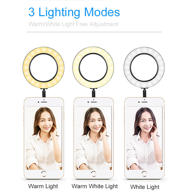 cheapest 16CM 26CM LED Selfie Ring Light Multi-Function Dimmable Ring Light For Cell Phone Camera Live Stream Makeup Youtube Facebook