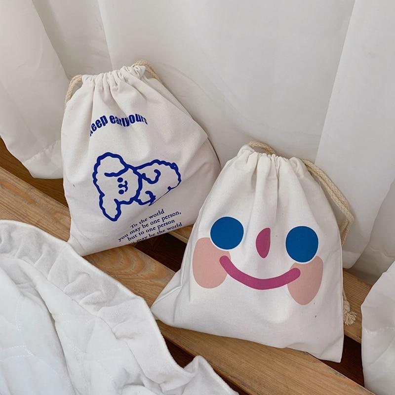 Sweet Girls Canvas Bags Cartoon Dog Drawstring Bags 2020 Fashion Storage Bag Casual Simple Shoulder Bag