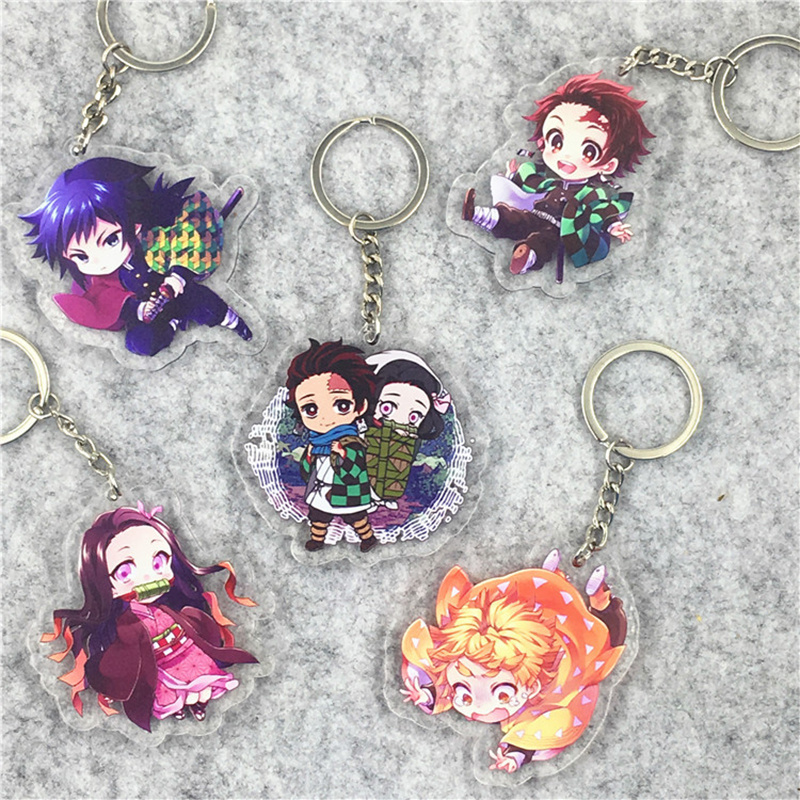 Anime Demon Slayer Kimetsu No Yaiba Keychain Kamado Tanjirou Cosplay Key Ring Kamado Nezuko Lovely Keyring Prop