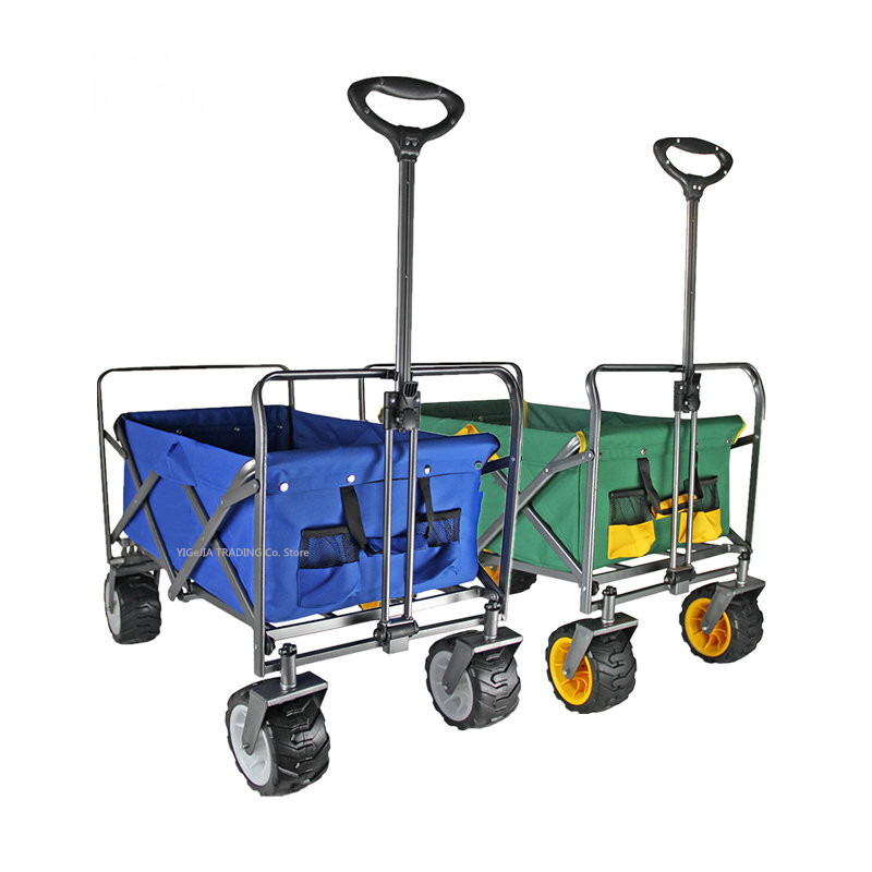 Outdoor Portable Camping Cart, Collapsible Folding Utility Wagon with 4 PU Wheels, Heavy Duty Picnic Camping Cart Shopping Cart image