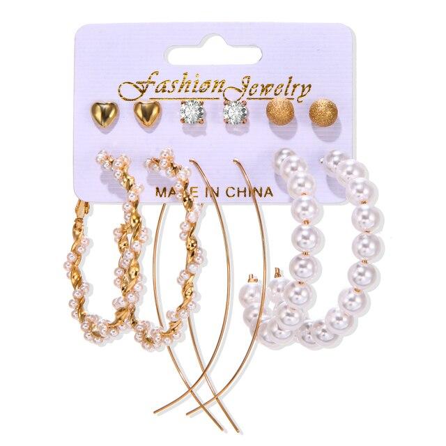 Women's Earrings Set Tassel Pearl Earrings For Women Bohemian Fashion Jewelry 2020 Geometric kolczyki Hoop Earings 1