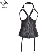 Wechery Faux Leather Black Corset Steampunk Gothic Bodice Corsets and Bustiers Hollow Push Up Sexy Clothing Zipper Corsage