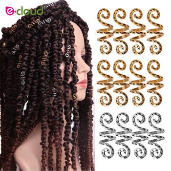 20 sztuk włosów metalowe koraliki pierścienie Dreadlocks koraliki pasmo włosów akcesoria z plecionki pierścienie opaski do włosów spinki do włosów i ozdoba do włosów tanie i dobre opinie e-cloud 20pcs bag hair beads for women Aluminum Metal hair beads Linki Pierścienie i rury 1mm*30mm spiral hair beads for girls braids
