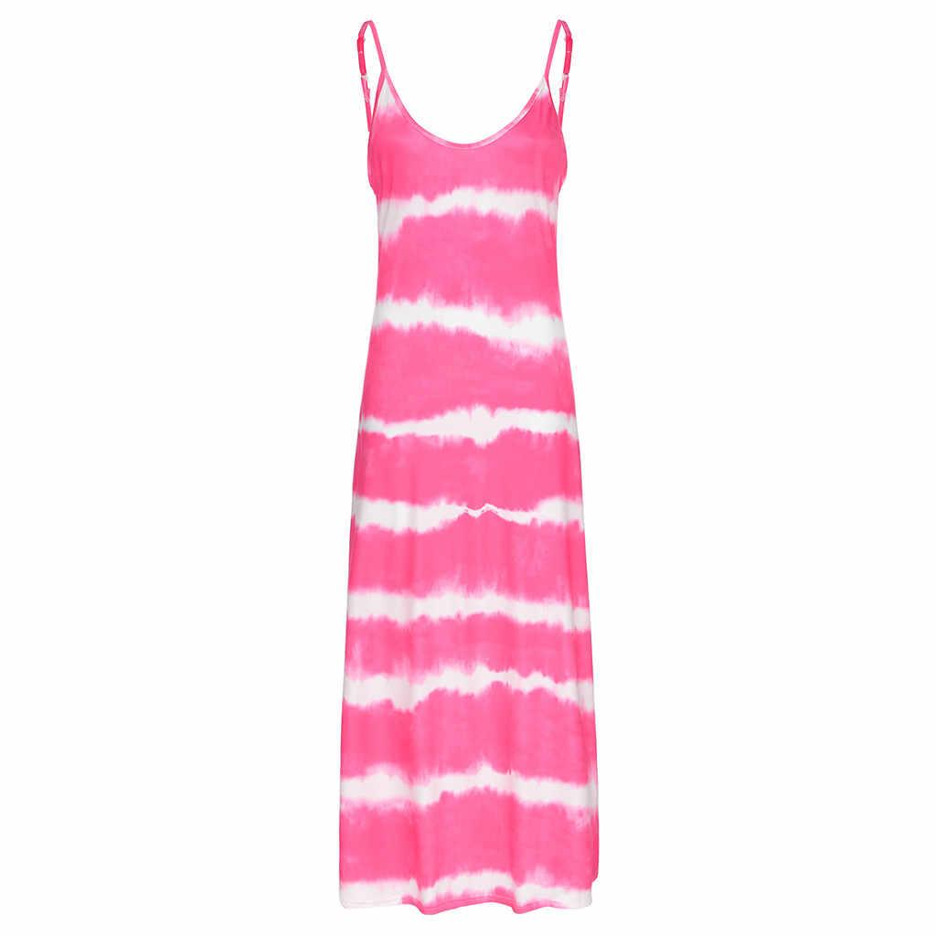 JAYCOSIN, женские платья без рукавов размера плюс, круглый вырез, камзол, без рукавов, градиентный принт, галстук, крашеное длинное платье, женский сарафан 828W