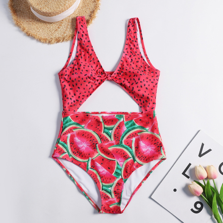 Watermelon Printed One-Piece Swimsuit Sexy Cut Out Front Bow Knot Women's Monokini 2020 Girls Beach Bathing Suits Swimwear E66