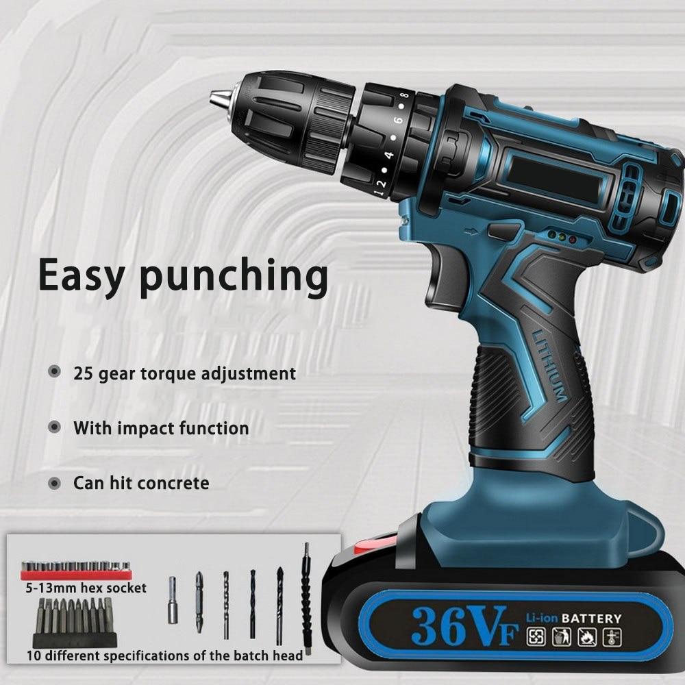 340W 2800 Rpm Electric Drill Cordless Screwdriver Metal Mini Drill Cordless Screwdriver Power Tools Cordless Drill Home DIY