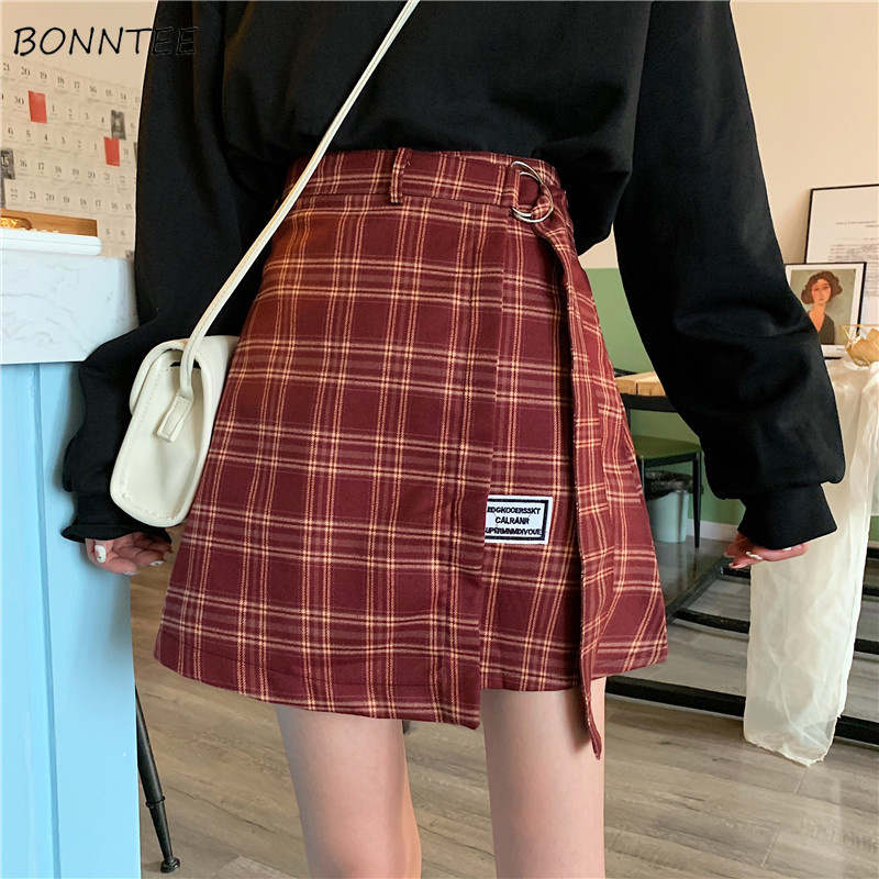 Skirts Women A-line Plaid Sashes Stitching Skirt Womens Irregular High Waist Fashion New Arrival Retro Preppy Girls Trendy Chic