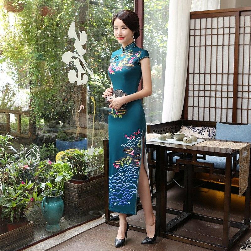 Improved Long Cheongsam C0147-B New Style Retro Slim Dress Chinese-style Performance Wear A Generation Of Fat