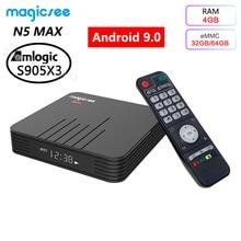 Caixa esperta de amlogic s905x3 do jogador 9.0g 5g wifi bluetooth 2.4 4k hd caixa máxima da tevê do andróide 4.1 de magicsee n5 4gb ram 32gb 64gb rom