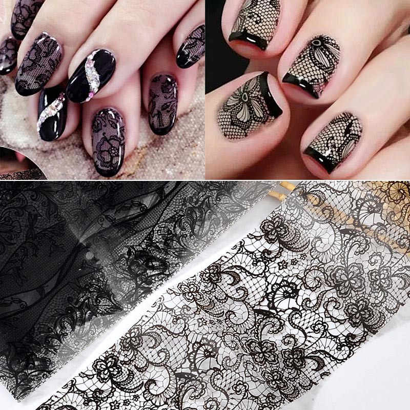 10 Sheets Fashion Zwart Kant Water Decals Nail Art Stickers Volledige Wraps Adhesive Manicure Nail Art Tips Decoratie Gratis Verzending