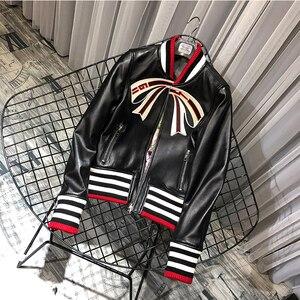 Emmes manteaux jaqueta de couro genuíno retalhos estilo feminino casaco primavera 2020kobiety płaszcze streetwear laço padrão casacos femininos