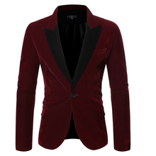 PUIMENTIUA 2019 New Men Autumn Velvet Suit Jacket Suit For Wedding Vintage Patchwork Slim Button V-Neck Long Sleeve Suit Jacket