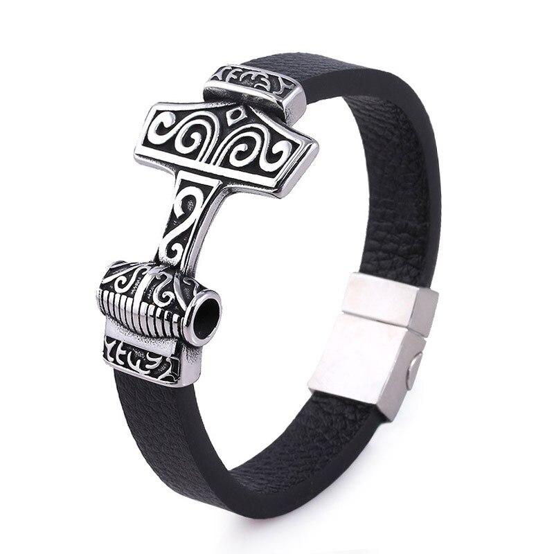 Bracelet Odin tête de loup acier inoxydable 3