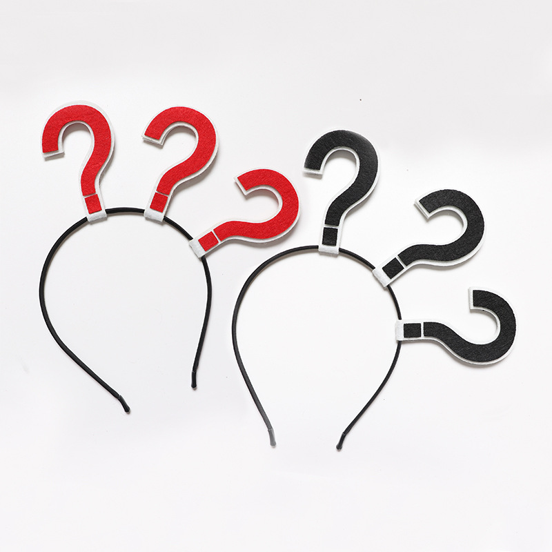 Web host question mark surprise symbol kitchen knife headband photo selfie funny party cosplay decor for hair Hair accessories image