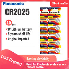 10pcs Original PANASONIC cr2025 Button Cell Batteries For digital camera camcorder Watch Calculator Weight Scale 3V Lithium cell