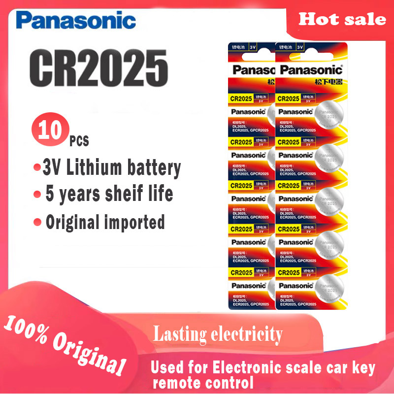 10pcs Original PANASONIC cr2025 Button Cell Batteries For digital camera camcorder Watch Calculator Weight Scale 3V Lithium cell(China)