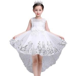 Image 1 - Menina vestido de verão branco princesa 3 14 anos menina vestido de festa robe fille crianças marca vestidos formatura