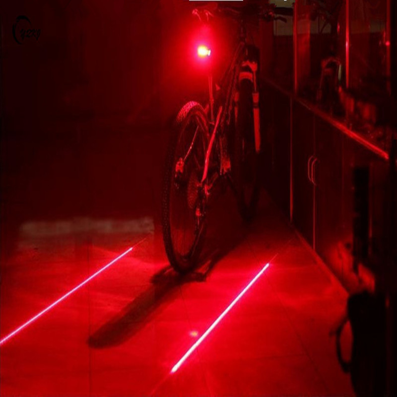 2 Laser Beam Mountain//Road Bicycle Intelligent Laser Rear Light 5 LED Tail Lamp