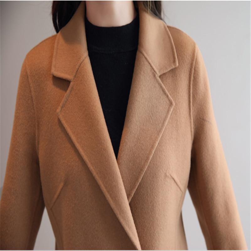 الشتاء معطف و سترة النساء 2020 أنيقة معطف من قماش الكشمير حجم كبير سترة الصوف الموضة الكورية الدافئة طويلة الجمل معطف الرأس الإناث