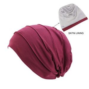 Image 2 - Kobiety miękka pościel satynowa indie kapelusz Stretch czapka do spania muzułmańskie nakrycie głowy z marszczeniami rak kapelusz po chemioterapii czapka szalik Turban chusta na głowę czapka Arab