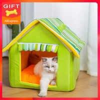 Heißer Verkauf Hund Katze Pet Haus Bett für Hunde Matte Sofas Zwinger Betten Katzen Kleine Mittelgroße Hunde Außen Abnehmbare Streifen abdeckung Produkte