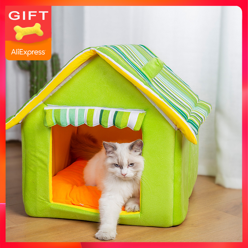Hot Sell Dog Pet House Cat Bed For Dogs Mat Sofas Kennel Beds Cats Small Medium Dogs Outdoor Detachable Stripes Cover Products