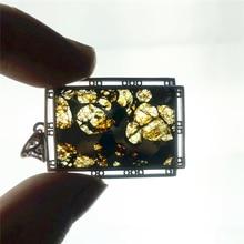 Echte Natürliche Gibeon Eisen Meteorit Moldavit Frauen Männer Halskette 38x25mm Silber Schmuck Blatt Geschnitzte Edelstein Anhänger AAAAA