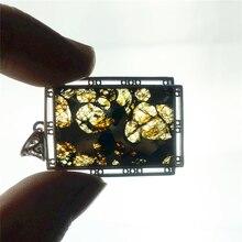 אמיתי טבעי גבעון ברזל מטאוריט Moldavite נשים גברים שרשרת 38x25mm כסף תכשיטי עלה מגולף חן תליון AAAAA