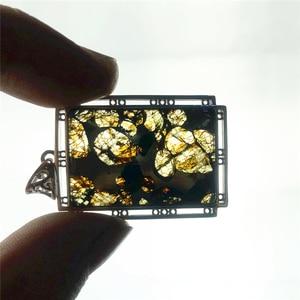 Image 1 - 정품 천연 gibeon 철 운석 moldavite 여성 남성 목걸이 38x25mm 실버 쥬얼리 잎 새겨진 보석 펜던트 aaaaa