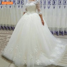 Ball-Gown Wedding-Dress Lace Applique White Princess Scoop Tulle Illusion Ivory 3/4-Sleeves
