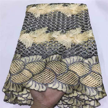 Wholesale African Lace Fabric 2019 High Quality Lace French Lace Fabric Stone Lace Fabric Beautiful Yellow White Color ! ZQ40523