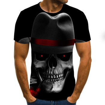 Men's T-shirt 3D skull printed T-shirt pattern short-sleeved summer casual top tee fashion O-neck T-shirt male Brand Tee top summer printed pattern o neck short sleeve t shirt blended quick drying gym short sleeves