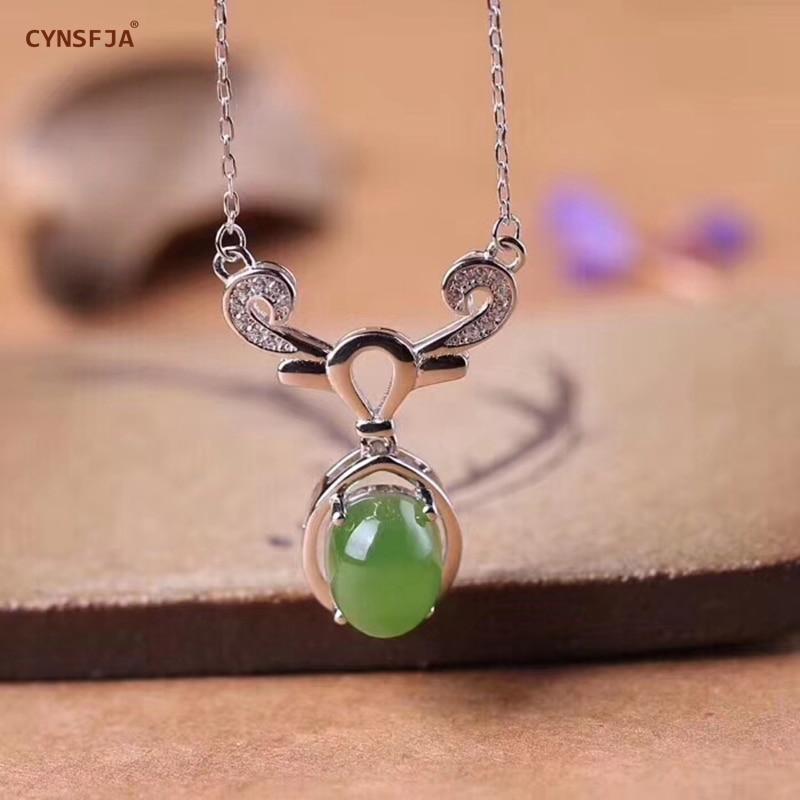 Cynsfja real certificada natural hetian jade jasper 925 prata esterlina jóias finas amuletos encantos verde jade pingente melhores presentes