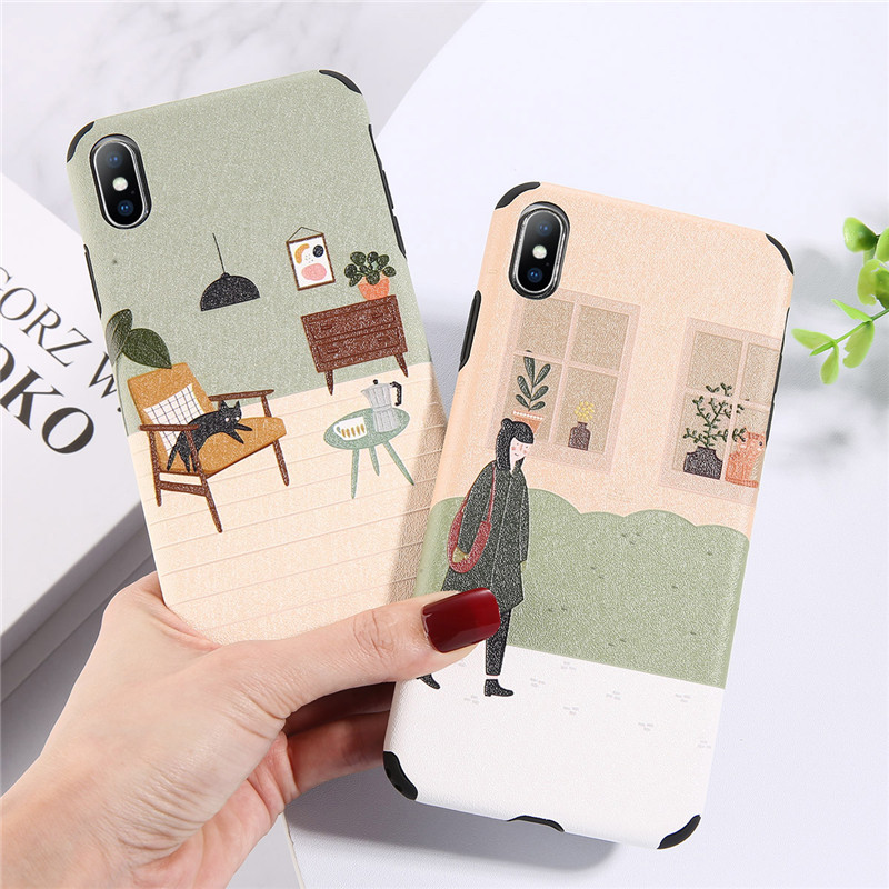 Moskado Ultra Thin Phone <font><b>Case</b></font> for <font><b>iPhone</b></font> X XR XS Max Cartoon 3D Girl <font><b>Cat</b></font> Cover For <font><b>iphone</b></font> 7 6 6s <font><b>8</b></font> Plus Soft TPU Silicone <font><b>Cases</b></font> image