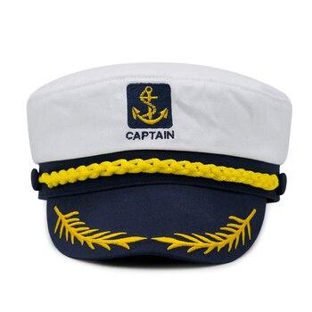 1PC Militär Nautischen Hut Weiß Yacht Kapitän Hut Navy Kappe Marine Skipper Sailor Cap Kostüm Für Erwachsene Partei Phantasie kleid Tuch