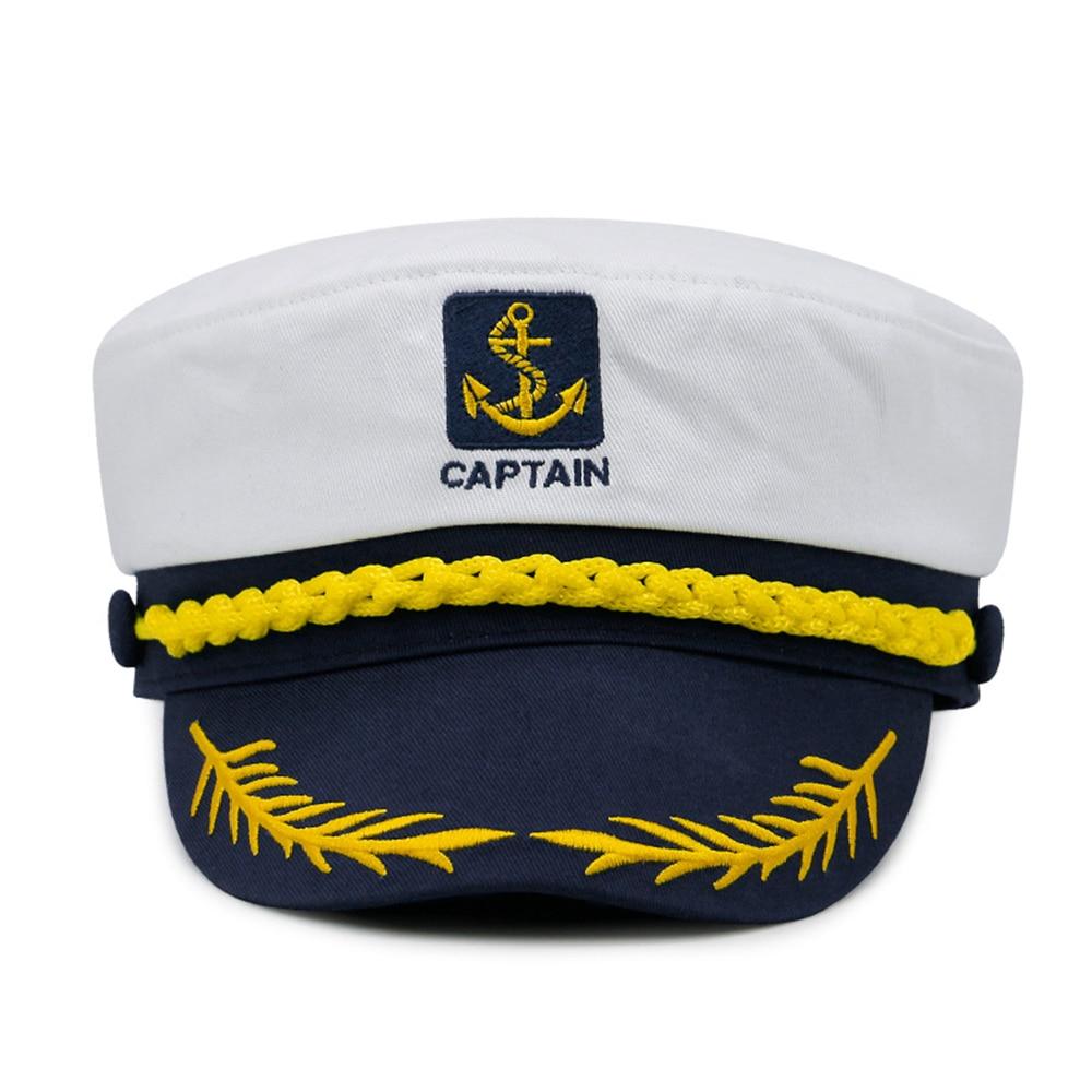 1PC militar sombrero náutico yate blanco sombrero de capitán de la Marina de Cap Marina capitán marinero gorra de disfraz para adultos fiesta de vestido de tela