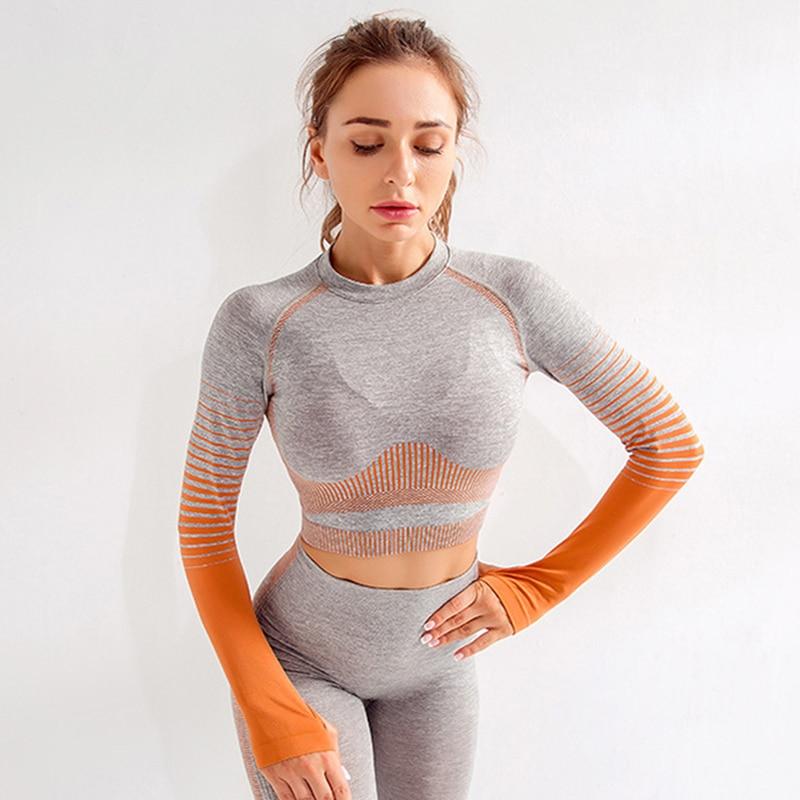 Salspor sem Costura Camisas para Mulheres de Manga Recortado Yoga Longa Listra Esporte Camisa Estiramento Apertado Ginásio Superior Fitness Mulher Correndo Esportiva