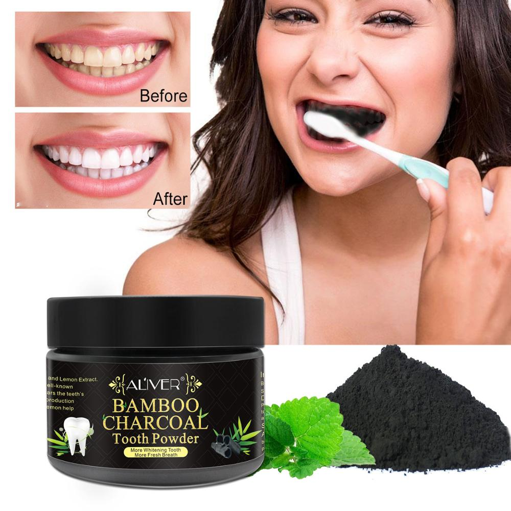 ALIVER Teeth Whitening Powder Oral Hygiene Cleaning Serum Removes Plaque Stains Tooth Bleaching Dental Tools Toothpaste
