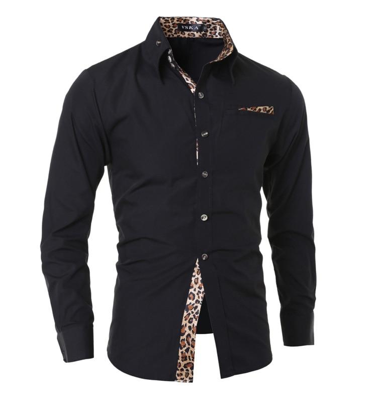 2019 Leopord Pattern Lining Applique Slim Models Long-sleeved Shirt 5904