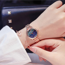 2019 Women Bracelet Watches Luxury Marble Green Watch Fashion Rose Gold Starry Crystal Quartz Wrist relogio feminino