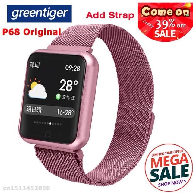 Reloj inteligente Greentiger P68 para deportes IP68, resistente al agua, seguimiento de la actividad física, presión arterial, oxígeno, reloj inteligente para hombres VS P80 P70 P90