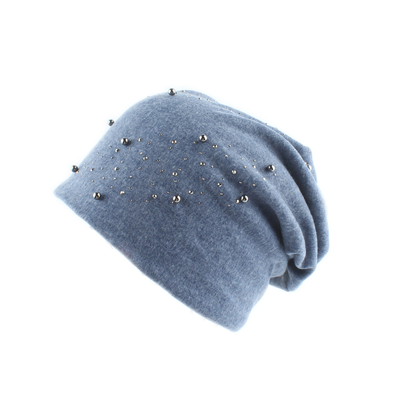 2019 Fashion Women Skullies Beanies Rhinestone Pearl Slouch Hat Ladies Autumn Winter Soft Cotton Beanie Dropshipping