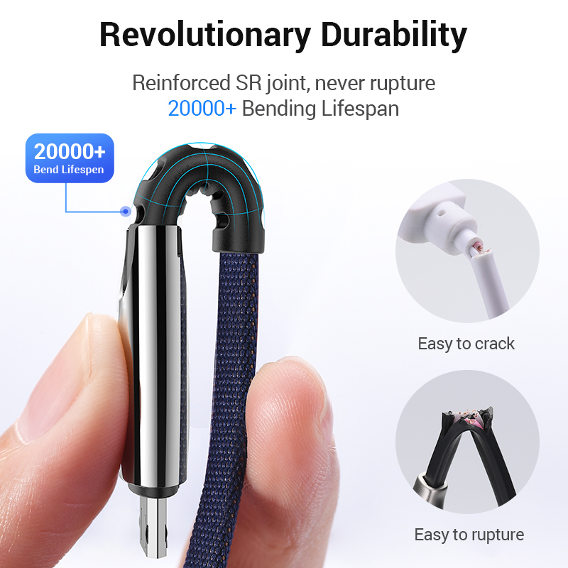 BRHMC Micro USB Cable 3A Nylon Fast Charge USB Data Cable for Samsung Xiaomi LG Tablet Android Mobile Phone USB Charging Cord 4