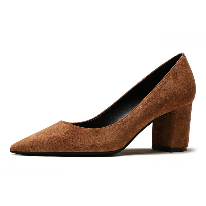 Spring Autumn New Style Women Shoes Dress Square High Heels Pumps Pointed Toe Ladies Office Shoes Sheepskin Leather Shoes M0063