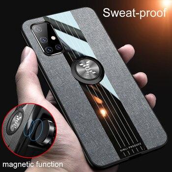KISSCASE Funda de cuero armadura para Samsung Galaxy A71 soporte magnético de coche anillo para Galaxy A51 SM A515F A717F A 51 71 81 Coque
