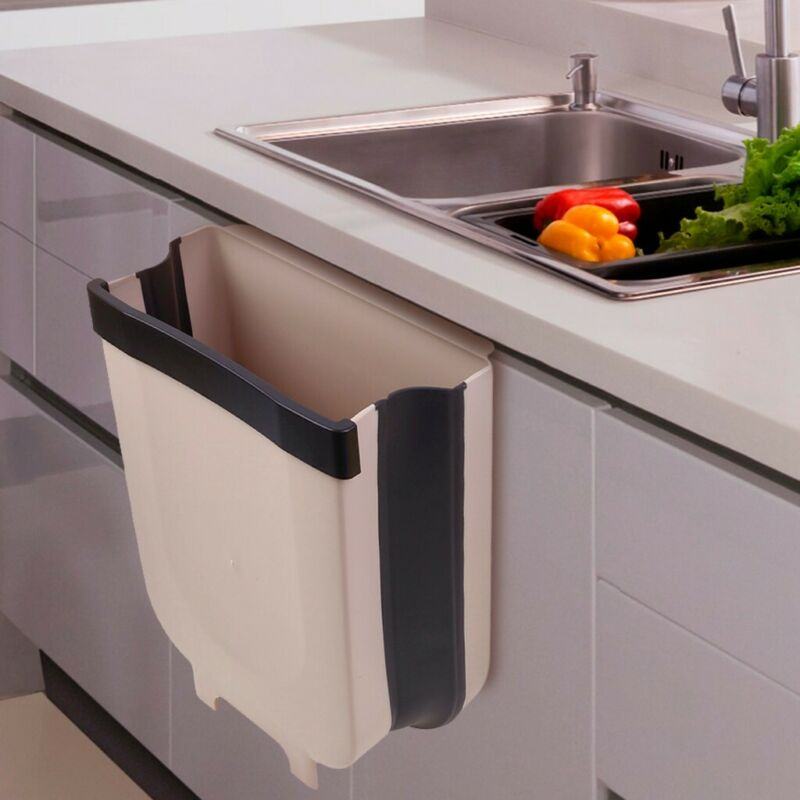 7L Large Capacity Wall Hanging Storage Box Kitchen Foldable Hanging Trash Can Creative Wall Mounted Waste Bin for Kitchen Bedroom Bathroom Car