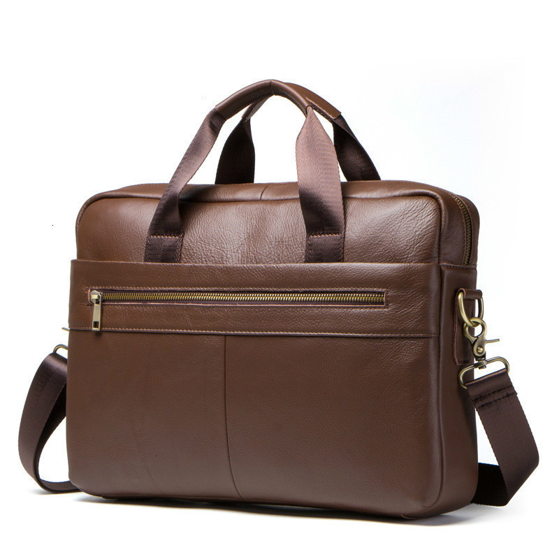 2020 Genuine Leather Briefcase Man Portable Computer Business Affairs Head Layer Cowhide Male Package Mens Bag Laptop Messenger
