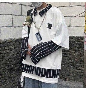 NiceMix harajuku, camiseta bordada hawaiana, camisa falsa de dos papeles, cuello de solapa, Impresión de rayas de marea, camisas blancas de puño francés